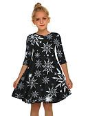 olcso Lány ruhák-Gyerekek Lány Aktív Édes Mikulás Karácsony Féhosszú Térd feletti Ruha Fekete