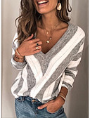 cheap Women's Sweaters-Women's Striped Long Sleeve Pullover Sweater Jumper, V Neck Wine / Purple / Blue S / M / L