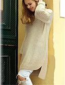 Χαμηλού Κόστους Ρόμπα-Γυναικεία Μονόχρωμο Μακρυμάνικο Πουλόβερ Πουλόβερ Jumper, Στρογγυλή Λαιμόκοψη Βαμβάκι Μαύρο / Κρασί / Μπεζ Ένα Μέγεθος