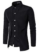 ราคาถูก เสื้อเชิ้ตผู้ชาย-สำหรับผู้ชาย เชิร์ต พื้นฐาน สีพื้น สีดำ