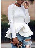 billige Bluser-T-skjorte Dame - Ensfarget, Drapering Grunnleggende Svart