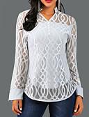 baratos Camisetas Femininas-Mulheres Blusa Renda, Sólido / Geometria Decote V Cinzento / Primavera / Outono