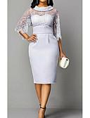 Χαμηλού Κόστους Φορέματα Παρανύμφων-Ίσια Γραμμή Χαμόγελο Κάτω από το γόνατο Πολυεστέρας Κομψό Κοκτέιλ Πάρτι / Αργίες Φόρεμα 2020 με Εισαγωγή δαντέλας