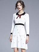 olcso Print Dresses-Női Elegáns A-vonalú Ruha - Kollázs Hímzett, Egyszínű Térd feletti Fekete-fehér