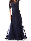 povoljno Večernje haljine-A-kroj Ovalni izrez Do poda Til Formalna večer Haljina s Aplikacije po LAN TING Express