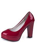 Χαμηλού Κόστους Μακριά Φορέματα-Γυναικεία Τακούνια Κοντόχοντρο Τακούνι Στρογγυλή Μύτη PU Άνοιξη & Χειμώνας Μαύρο / Λευκό / Κόκκινο