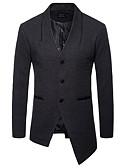 olcso Férfi dzsekik és kabátok-Férfi Napi Hosszú Kabát, Egyszínű V-alakú Hosszú ujj Poliészter Fekete / Sötétszürke / Tengerészkék