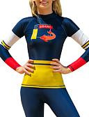 ราคาถูก ชุดดำน้ำ-SBART สำหรับผู้หญิง Rash Guard Swim shirt ระบายอากาศ แห้งเร็ว แขนยาว การว่ายน้ำ Surfing Snorkeling ลายต่อ ฤดูใบไม้ร่วง ฤดูใบไม้ผลิ ฤดูร้อน / ผสมยางยืดไมโคร