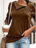 baratos Camisetas Femininas-Mulheres Camiseta Sólido Preto