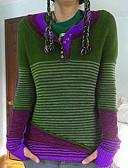baratos Suéteres de Mulher-Mulheres Listrado Manga Longa Pulôver Camisola Jumper, Decote V Roxo / Amarelo / Azul S / M / L