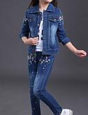 povoljno Kompletići za djevojčice-Djeca Djevojčice Ulični šik Cvjetni print Dugih rukava Komplet odjeće Plava