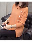olcso Női pulóverek-Női Egyszínű Hosszú ujj Pulóver Pulóver jumper Ősz / Tél Fehér / Narancssárga / Sárga Egy méret