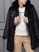 olcso Férfi dzsekik és kabátok-Férfi Napi Ősz & tél Szokványos Faux Fur Coat, Egyszínű Térfogatcsökkenés Hosszú ujj Műszőrme Fekete / Fehér