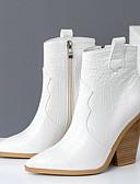 billige Slips og sløyfer-Dame Støvler Cowboy / Western Boots Tykk hæl Spisstå PU Støvletter Høst vinter Svart / Brun / Hvit