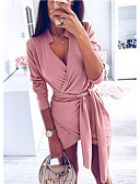olcso Női ruhák-Női Alap Bodycon Ruha - Zsinór, Egyszínű Mini