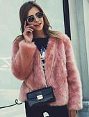 povoljno Prsluci-Žene Dnevno Jesen zima Normalne dužine Faux Fur Coat, Jednobojni Ovratnika Dugih rukava Umjetno krzno Crn / Obala / Blushing Pink
