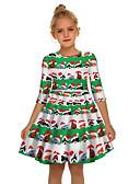olcso Lány ruhák-Gyerekek Lány Aktív Édes Mikulás Karácsony Féhosszú Térd feletti Ruha Lóhere
