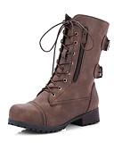 Χαμηλού Κόστους Γυναικεία Πουλόβερ-Γυναικεία Μπότες Αποκλείστε τη φτέρνα Στρογγυλή Μύτη PU Μπότες στη Μέση της Γάμπας Φθινόπωρο & Χειμώνας Μαύρο / Καφέ