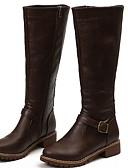 baratos Ternos & Blazers Masculinos-Mulheres Botas Sapatos Confortáveis Sem Salto Ponta Redonda Couro Ecológico Botas Cano Médio Inverno Preto / Marron / Amarelo