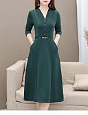 olcso Női ruhák-Női Alap Elegáns A-vonalú Ruha - Kollázs, Egyszínű Térdig érő