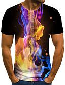 baratos Camisetas & Regatas Masculinas-Homens Camiseta Básico / Exagerado Estampado, Geométrica / 3D / Gráfico Decote Redondo Preto / Manga Curta