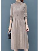 olcso Női ruhák-Női Elegáns Kötött Ruha Egyszínű Térdig érő
