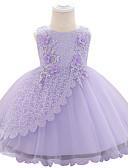 Χαμηλού Κόστους Βρεφικά φορέματα-Μωρό Κοριτσίστικα Ενεργό Μονόχρωμο / Φλοράλ Φιόγκος / Πολυεπίπεδο / Πλισέ Αμάνικο Ως το Γόνατο Φόρεμα Μπλε Απαλό