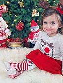 olcso Bébi ruházat-Baba Lány Utcai sikk Nyomtatott / Karácsony Hosszú ujj Szokványos Ruházat szett Bézs / Kisgyermek