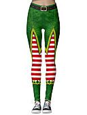 Χαμηλού Κόστους Γυναικείες Φούστες-Γυναικεία Χριστούγεννα Λεπτό Κολάν Παντελόνι - Στάμπα Πράσινο του τριφυλλιού Τ M L