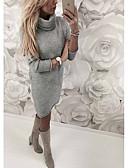 olcso Maxi ruhák-Női Kötött Ruha Egyszínű Térd feletti Körgallér