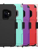 זול מגנים לטלפון-מגן עבור Samsung Galaxy S9 / S8 מחזיק כרטיסים / עמיד בזעזועים / עם מעמד כיסוי אחורי אחיד PC / ג'ל סיליקה