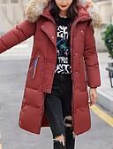 olcso Női hosszú kabátok és parkák-Női Egyszínű Hosszú Kosaras, Poliészter Fekete / Katonai zöld / Rubin M / L / XL