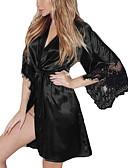ราคาถูก เสื้อคลุมและชุดนอน-สำหรับผู้หญิง ลูกไม้ Sexy เสื้อคลุม / ซาตินและผ้าไหม เสื้อนอน สีพื้น สีดำ ไวน์ สีม่วง S M L
