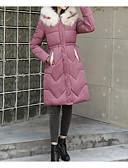 olcso Női hosszú kabátok és parkák-Női Egyszínű Hosszú Pehely, POLY Fekete / Arcpír rózsaszín / Fukszia M / L / XL