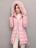 olcso Női hosszú kabátok és parkák-Női Egyszínű Pehely, Poliészter / POLY Fekete / Arcpír rózsaszín / Medence M / L / XL