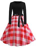 Χαμηλού Κόστους Βίντατζ Βασίλισσα-Γυναικεία Βασικό Swing Φόρεμα - Καρό Ως το Γόνατο