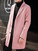 olcso Férfi dzsekik és kabátok-Férfi Napi Hosszú Kabát, Egyszínű Hasított rever Hosszú ujj Poliészter Fekete / Fehér / Arcpír rózsaszín