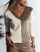 cheap Women's Sweaters-Women's Daily Basic T-shirt - Color Block Blushing Pink