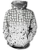 olcso Férfi pólók és pulóverek-Férfi Alkalmi / Utcai sikk Kapucnis felsőrész Mértani / Színes / 3D