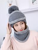 Χαμηλού Κόστους Women's Hats-Γυναικεία Μονόχρωμο Βασικό χαριτωμένο στυλ Ακρυλικό Πλεκτά Καπέλο σκι Φθινόπωρο Χειμώνας Μαύρο Ανθισμένο Ροζ Ρουμπίνι