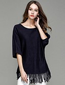 povoljno Prsluci-Žene Jednobojni Dugih rukava Pullover Džemper od džempera, Okrugli izrez žuta / Navy Plava S / M / L