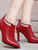 ราคาถูก กางเกงใน-สำหรับผู้หญิง รองเท้าส้นสูง ส้น Stiletto ปลายกลม หนังหมู ฤดูใบไม้ร่วง & ฤดูหนาว สีดำ / แดง