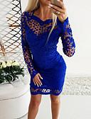 baratos Renda Romântica-Mulheres Básico Tubinho Vestido Geométrica Acima do Joelho