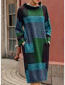 olcso Női ruhák-Női Utcai sikk Egyenes Kötött Ruha Színes Térd feletti