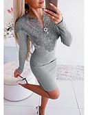 olcso Női szoknyák-Női Alap Hüvely Ruha - Csipke, Egyszínű Térdig érő V-alakú