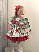 olcso Bébi ruházat-Baba Lány Boho Mikulás Mértani Nyomtatott Rövid ujjú Ruha Rubin