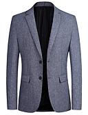 billige Bluser-Herre Blazer, Ensfarget Hakkjakkeslag Polyester Blå / Mørkegrå / Grå