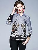 baratos Camisas Femininas-Mulheres Camisa Social Vintage / Elegante Estampado, Gráfico Azul