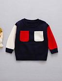 povoljno Majice za Za dječake bebe-Dijete Dječaci Osnovni Color block Dugih rukava Pamuk Majica s kratkim rukavima Navy Plava / Dijete koje je tek prohodalo