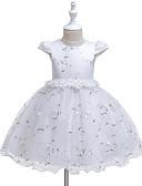 olcso Bébi ruhák-Baba Lány Aktív Rózsa Virágos / Egyszínű Háló / Nyomtatott Ujjatlan Térdig érő Ruha Fehér